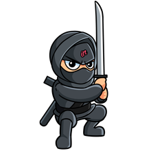 Illustrated small IN Business Ninjas crouching Ninja with a sword and black belt on a clear background