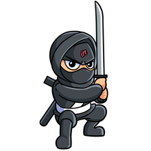 Illustrated small IN Business Ninjas crouching Ninja with a sword and white belt on a clear background