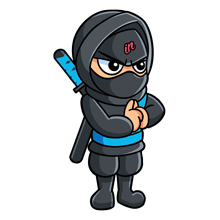 Illustrated small IN Business Ninjas standing Ninja with hands clasped and light blue belt on a clear background for generate and engage programme