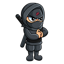 Illustrated small IN Business Ninjas standing Ninja with hands clasped and black belt on a clear background for generate and engage programme