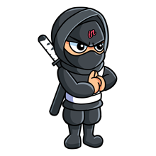 Illustrated small IN Business Ninjas standing Ninja with hands clasped and white belt on a clear background