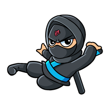 Illustrated small IN Business Ninjas flying Ninja with a light blue belt on a clear background